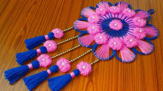 BEST OUT OF WASTE BANGELS AND WOOL CRAFT IDEA/DIY WOOLEN AND BANGELS WALL HANGING TORAN