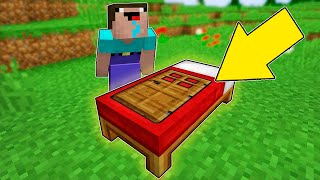 Minecraft Battle - NOOB vs PRO : HOW NOOB BUILD SECRET HOUSE IN BED IN ONE BLOCK? (Animation)