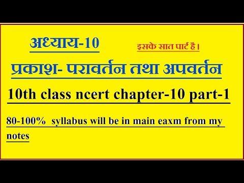 अध्याय-10 प्रकाश- परावर्तन तथा अपवर्तन ,10th Class Ncert Chapter-10 Part-1
