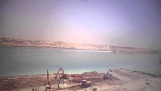 Dredging work and stone walls of the Suez Canal and the new sail in the sector East May 3, 2015