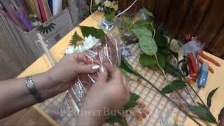 Веточка хризантемы в целлофане
