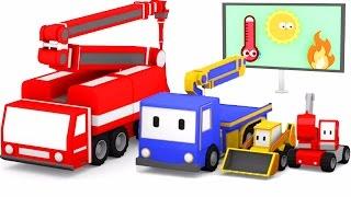 Das Feuerwehrauto - mit den kleinen Trucks: Planierraupe, Kran, Bagger 🚚🎨