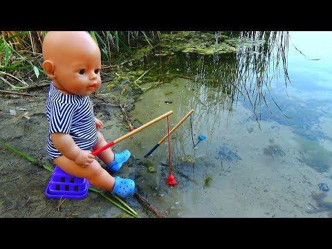 Куклы Беби Бон НОЧУЮТ В ЛЕСУ в ПАЛАТКЕ Baby Born. Кукла Беби Бон Макс ловит рыбу - РЫБА УБЕЖАЛА.