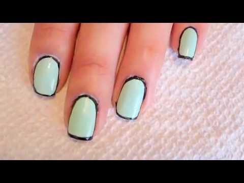 Line Art Nails : Border line nail art youtube