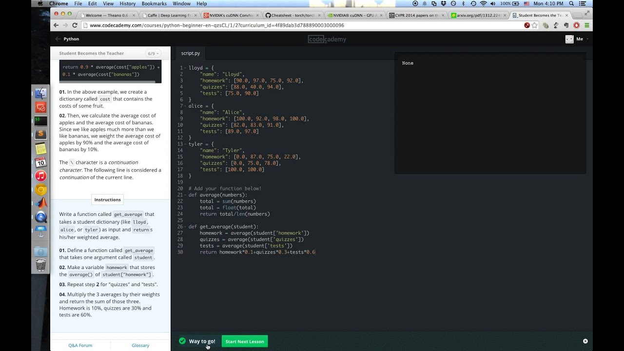 [10310QF100200]codecademy第11關 student becomes the teacher