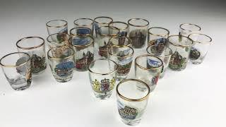 VINTAGE 22 Shot Glass Collection Gold Rim Germany Switzerland Castle Souvenir
