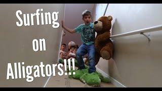 Stair Slide into Stuffed Animals!!!