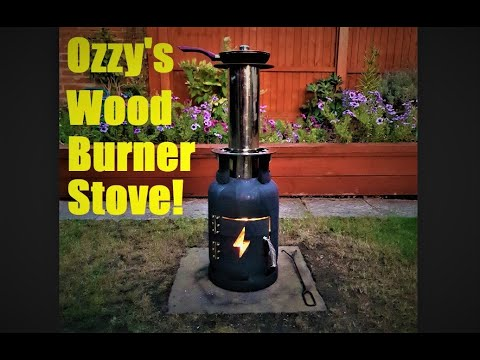 Ozzy's Wood Burner Stove - made from a gas bottle, a motorcycle exhaust & motorcycle brake discs!