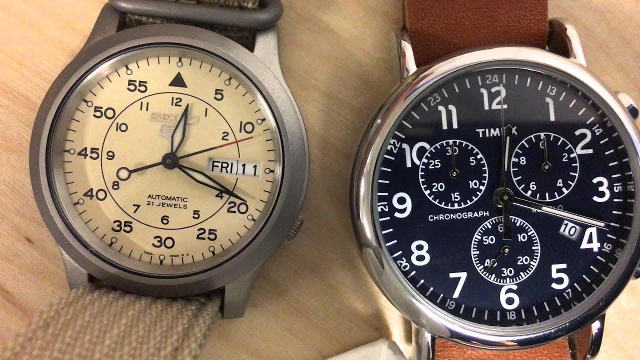 1483f1b98 Seiko SNK803 vs. Timex Weekender Chrono - YouTube