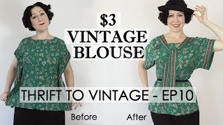 $3 thrift store top refashioned into a vintage 1920's kimono blouse - Thrift to Vintage ep.11