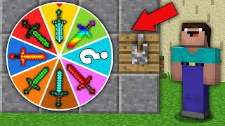 Minecraft NOOB vs PRO: WHICH SECRET SWORD WILL WIN NOOB IN WHEEL OF FORTUNE? Challenge 100% trolling