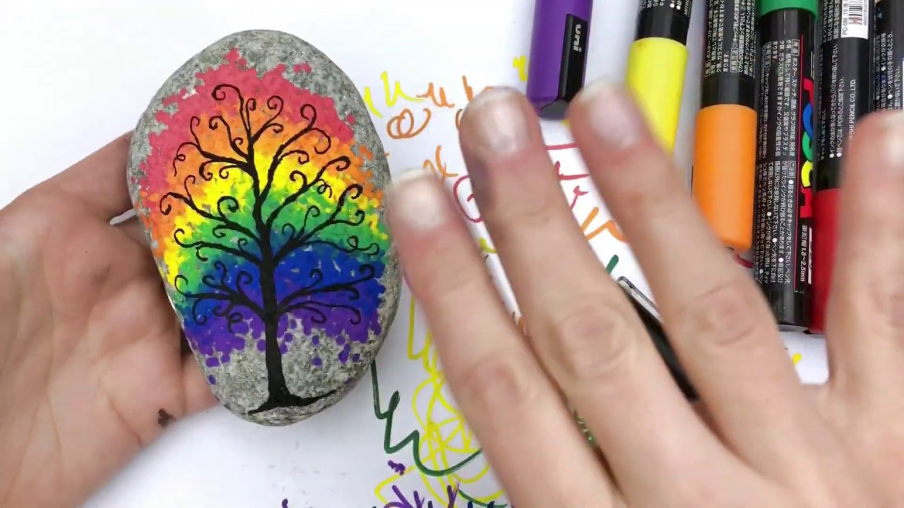 Rainbow Tree Painted Rock Tutorial Color Made Happy
