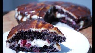 СОЧНЫЙ ШОКОЛАДНЫЙ ТОРТ с вишней и кремом ПЛОМБИР, влажный и МЕГА шоколадный торт