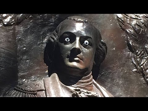 Hilary - Someone put googly eyes on a historic Georgia statue