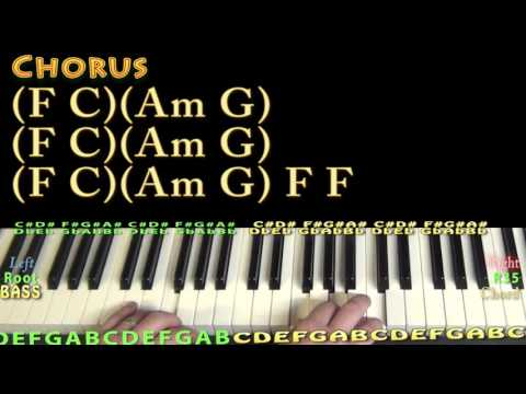 Million Reasons (Lady Gaga) Piano Lesson Chord Chart - C Am F G