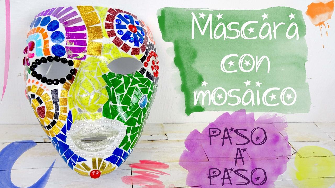 mÁscara con mosaico para carnaval. fácil y perfecto para niÑos