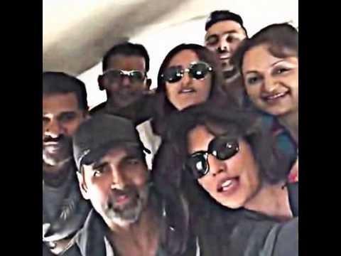 Akshay,PrabhuDeva,Madhuri,Sonakshi LIVE...On Private Jet Going to San Francisco from Houston