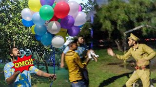 FLYING MY DOG WITH 100 HELIUM BALLOONS😱😱 **Arrested**