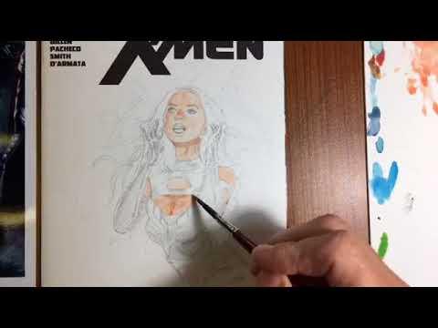 art instruction: Olivia Munn as X-men character sketchcover