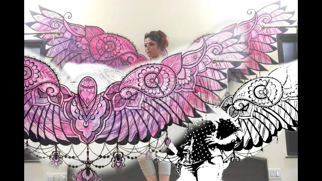 b5ffc276c Mandala Wings Tattoo Wall art  Fairy Feather WALL painting  Wall TAttoo Art   Easy DIY