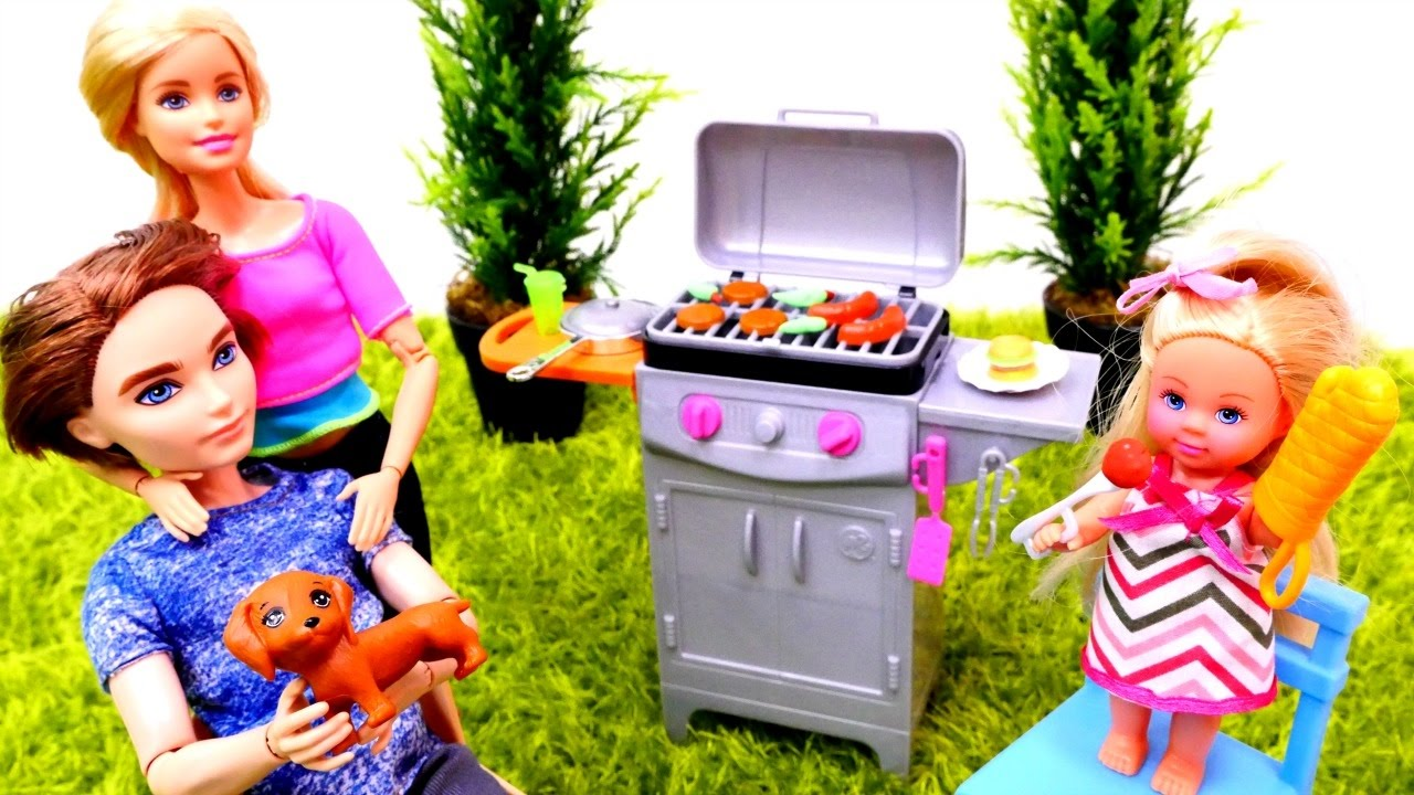 БАРБЕКЮ с Барби и Кеном. Овощи и мясо на гриле. Готовим ...