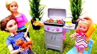 БАРБЕКЮ с Барби и Кеном. Овощи и мясо на гриле. Готовим вместе