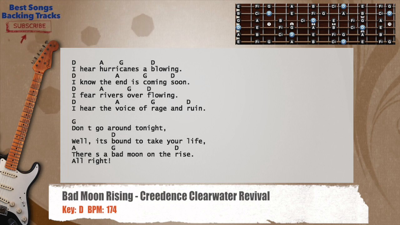 Bad Moon Rising Creedence Clearwater Revival Lead Guitar Backing