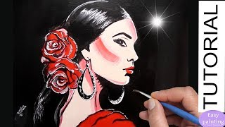 How to paint FLAMENCO WOMAN. Spanish Lady Painting Tutorial Step by Step
