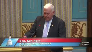 Sen. Horn reads letter from constituent facing economic despair