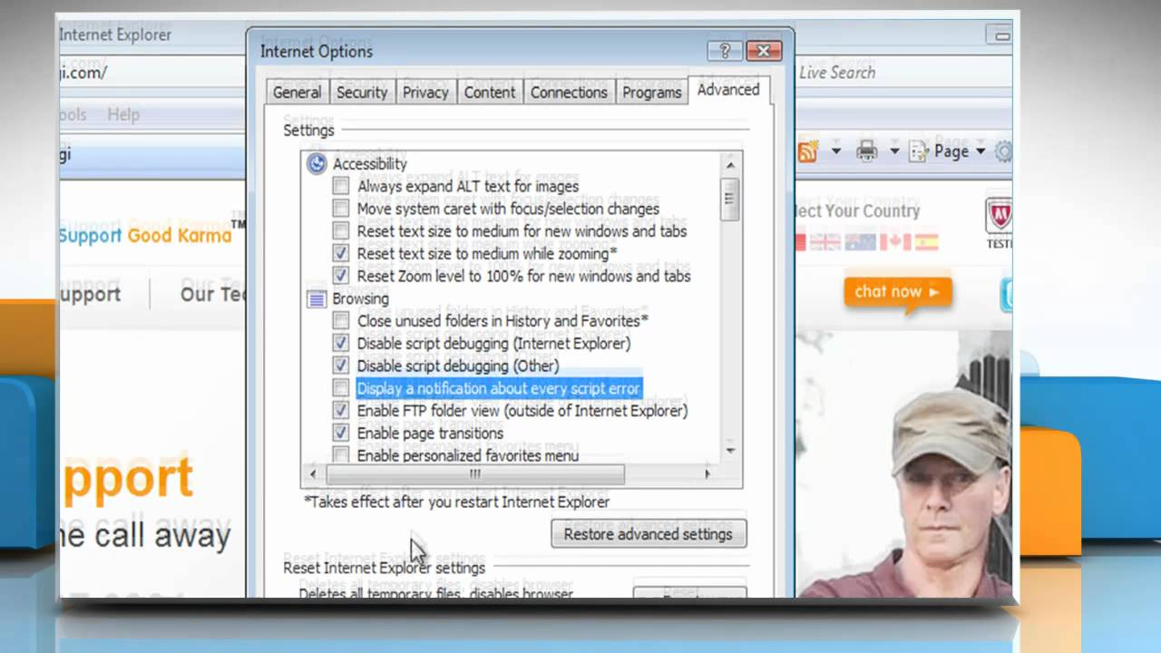 Internet Explorer� 7: How To Disable Script Error Notification In Windows�  Vista?