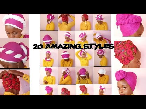 Head wrap/scarf styles//How to tie a headscarf/headwrap 20 ways easy and fast./tutorial