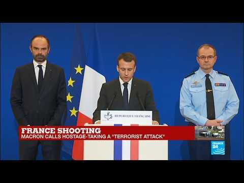 French President Emmanuel Macron speaks after the Trèbes attack