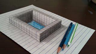 Draw water tank on line paper in 3d trick art
