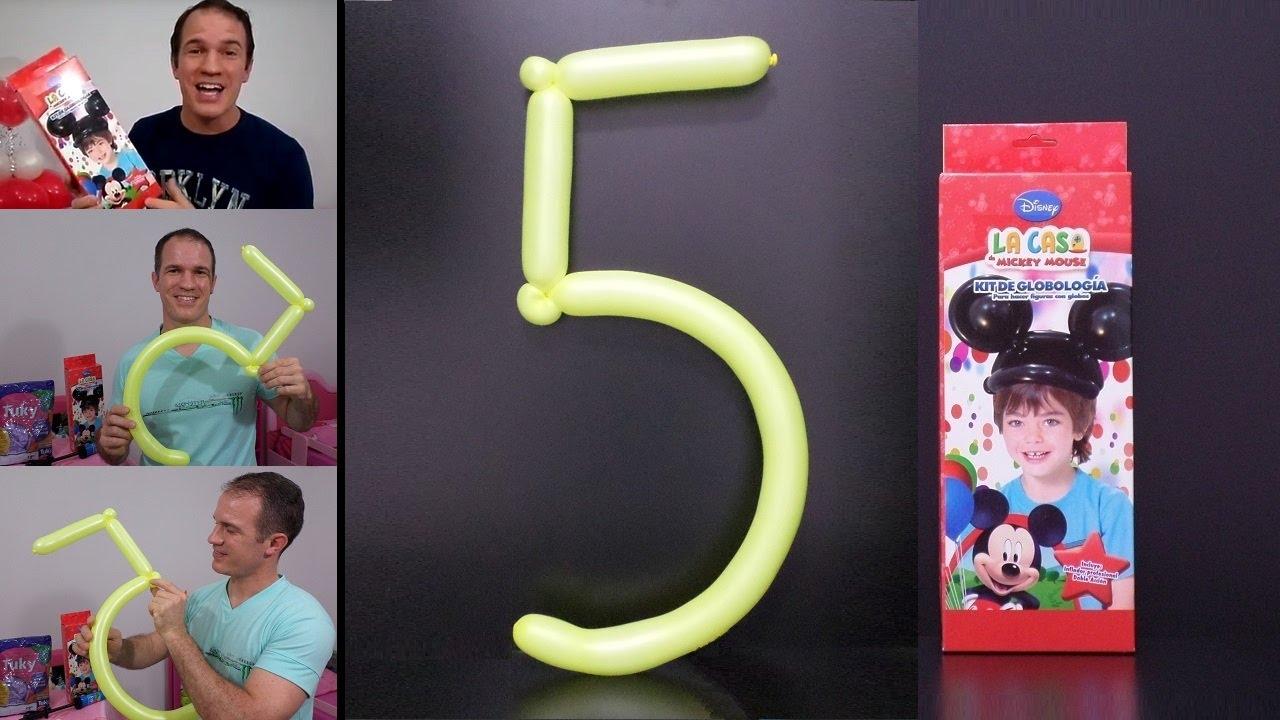 Como hacer numeros con globos como hacer el numero 5 con - Como hacer figuras con globos ...