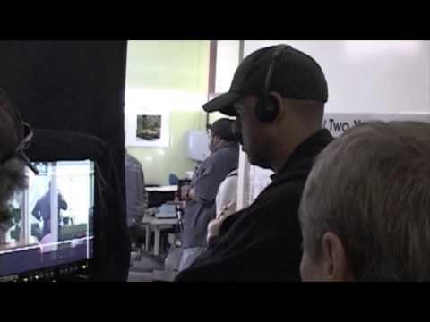Shantel VanSanten filming a scene in