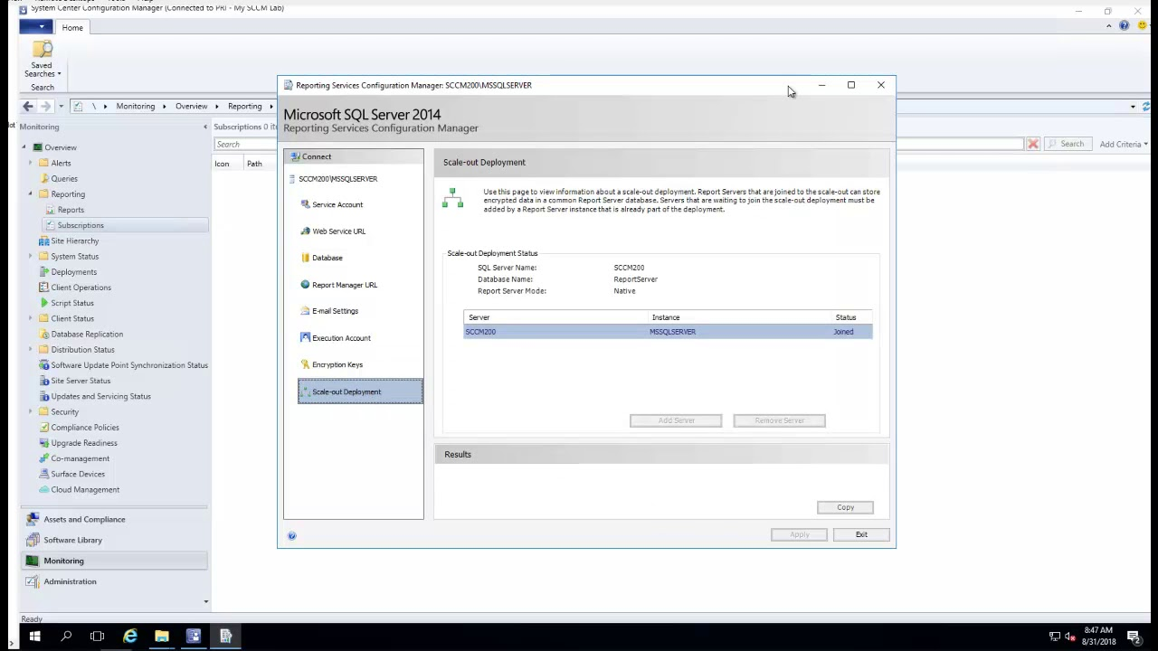 How to configure sccm reporting services point