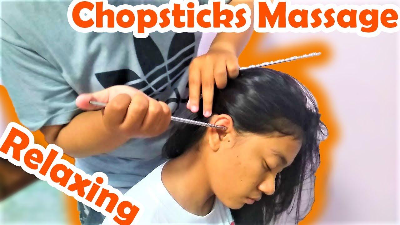 asmr chopsticks head massage for girl | relaxing must watch - youtube