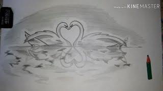красивый рисунок Лебедь и озеро с простого карандаша. Как научится рисовать красивые рисунки