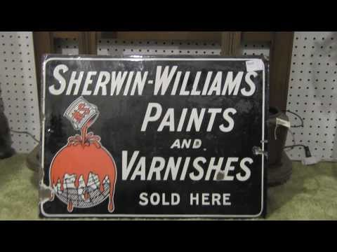 Sherwin Williams Paint and varnish Porcelain Sign Antique