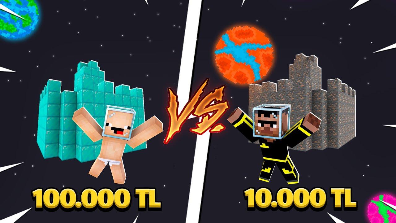 100.000$ UZAY KALE VS 1000$ KEKO UZAY KALE ! 😱 - Minecraft