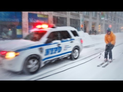 Snowboarding in New York City