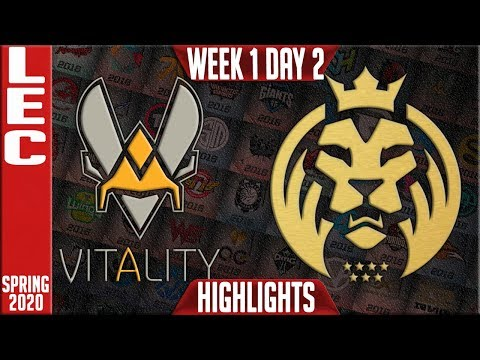VIT Vs MAD Highlights | LEC Spring 2020 W1D2 | Vitality Vs MAD Lions