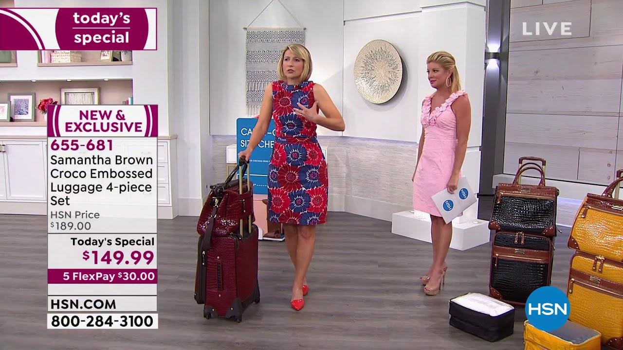 Samantha Brown Luggage Qvc: Samantha Brown Croco Embossed Luggage 4piece Set