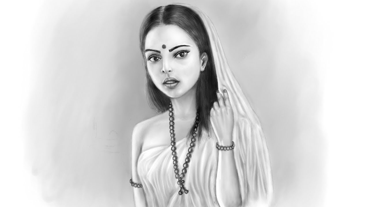 Pencil sketch beautiful girl mypaint drawing indian girl drawing