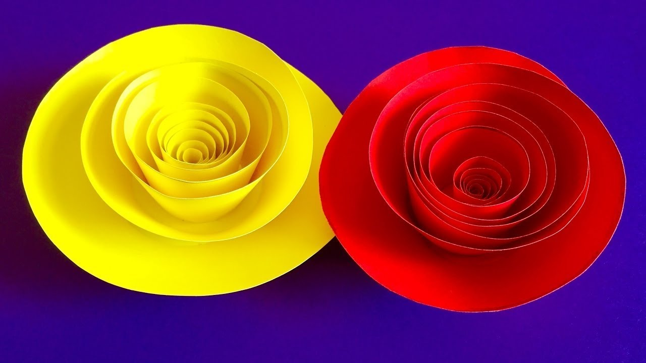 How To Make Rolled Paper roses - Quilling paper flowers wall ...