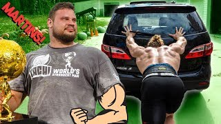 WORLD'S STRONGEST MAN HOW TO PUSH CAR!