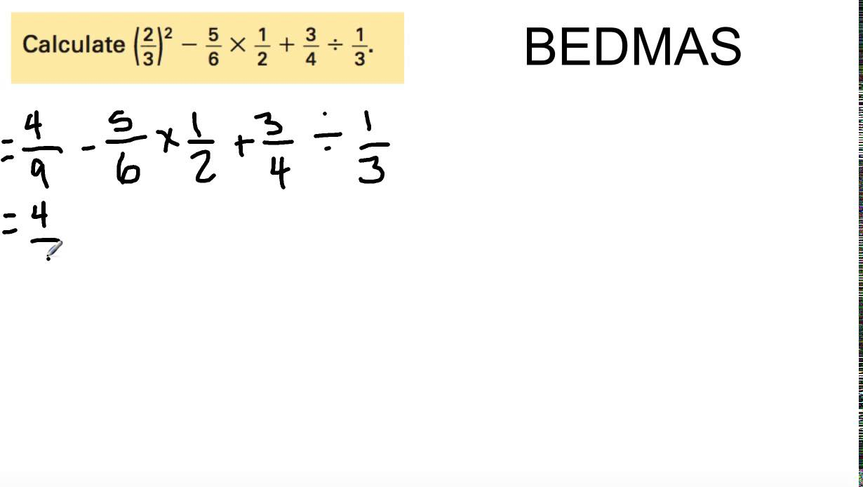 small resolution of Grade 8 Math: 9.10 - Order of Operations (of Fractions) - YouTube