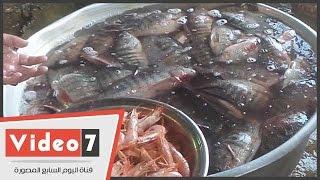 """بالفيديو.. إقبال ملحوظ على """"سوق السمك"""" استعداداً لـ""""أعياد الميلاد""""..شاهد الأسعار والأنواع"""
