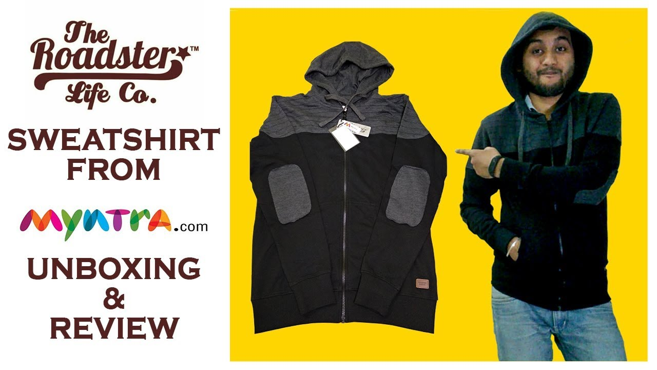Roadster Men Black   Charcoal Grey Solid Hooded Sweatshirt from Myntra  unboxing   review 761a79502637