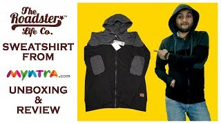 Download Roadster Men Black & Charcoal Grey Solid Hooded Sweatshirt from Myntra unboxing & review
